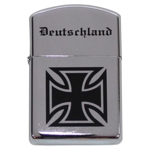 """Benzin-Sturmfeuerzeug, chrom poliert, """"Deutschland"""""""