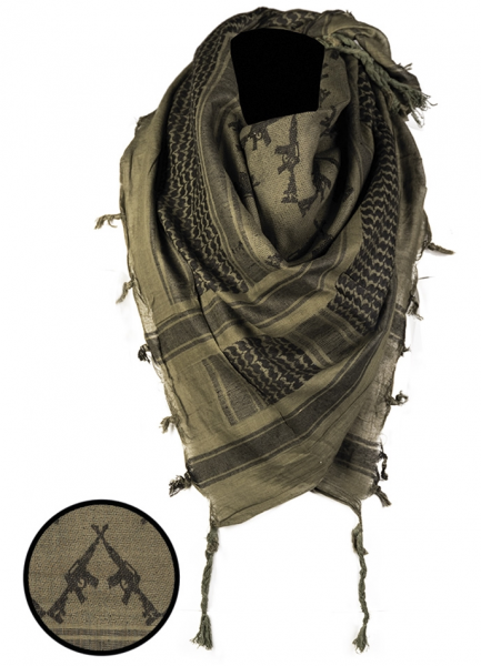 Shemag PLO Scarf, with fringes Rifles Olive / Black