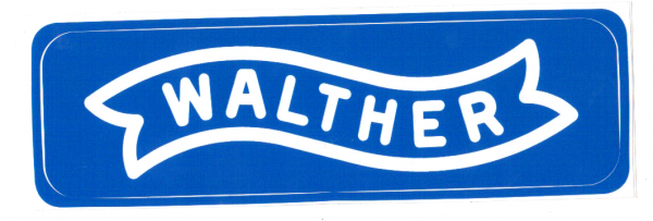 Aufkleber Walther blau mit weissem Logo 85x 24 mm Sticker