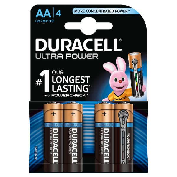 Duracell AA Ultra Power 4er Set LR6 MX1500 Powercheck