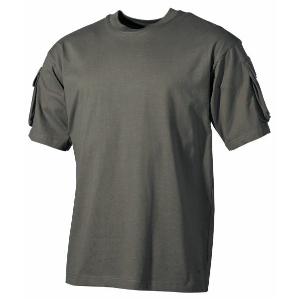 US T-Shirt, halbarm, oliv, mit Ärmeltaschen