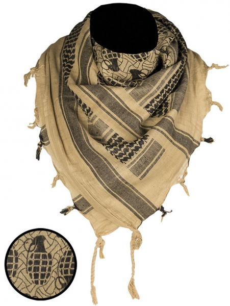 Shemag PLO scarf, with fringes, coyote Tan black, with hand grenades